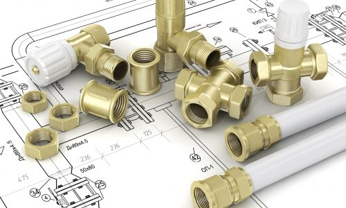 Plumbing valves and hoses in the drawings